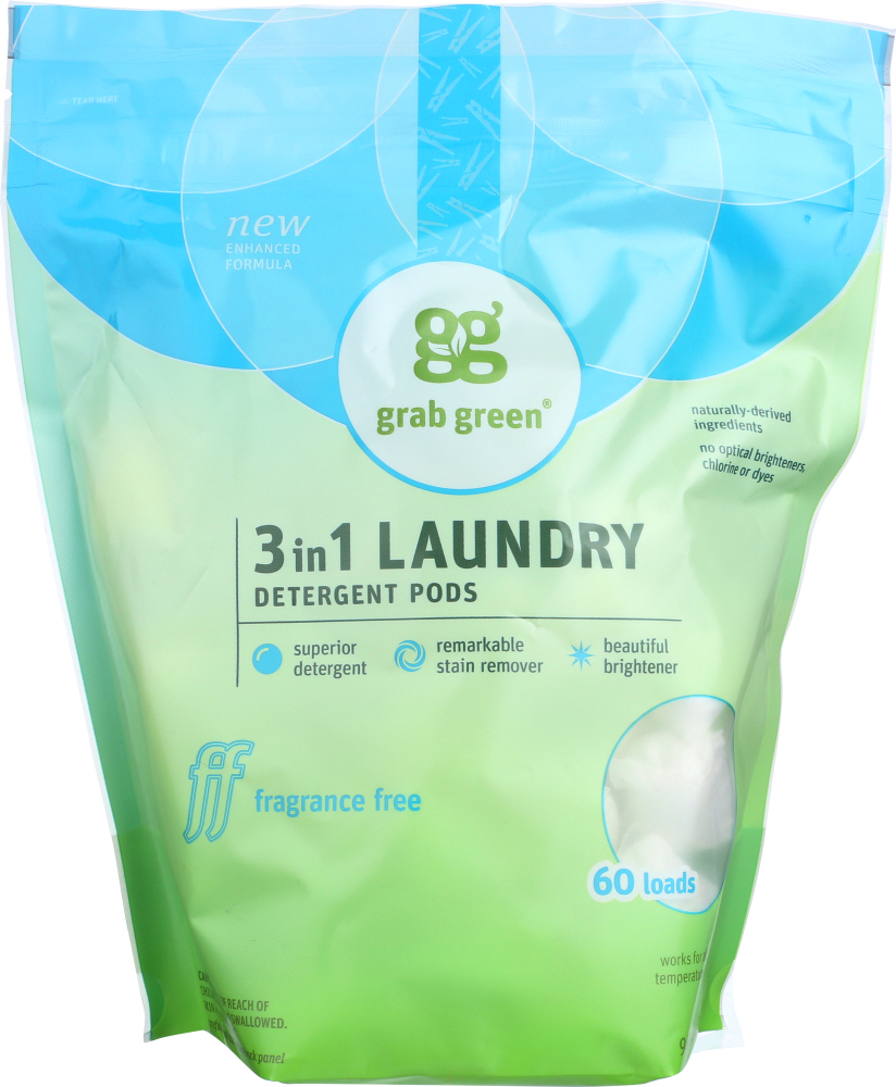 GRAB GREEN: 3-in-1 Laundry Detergent Pods Fragrance Free 60 Pods, 2.4 Lb