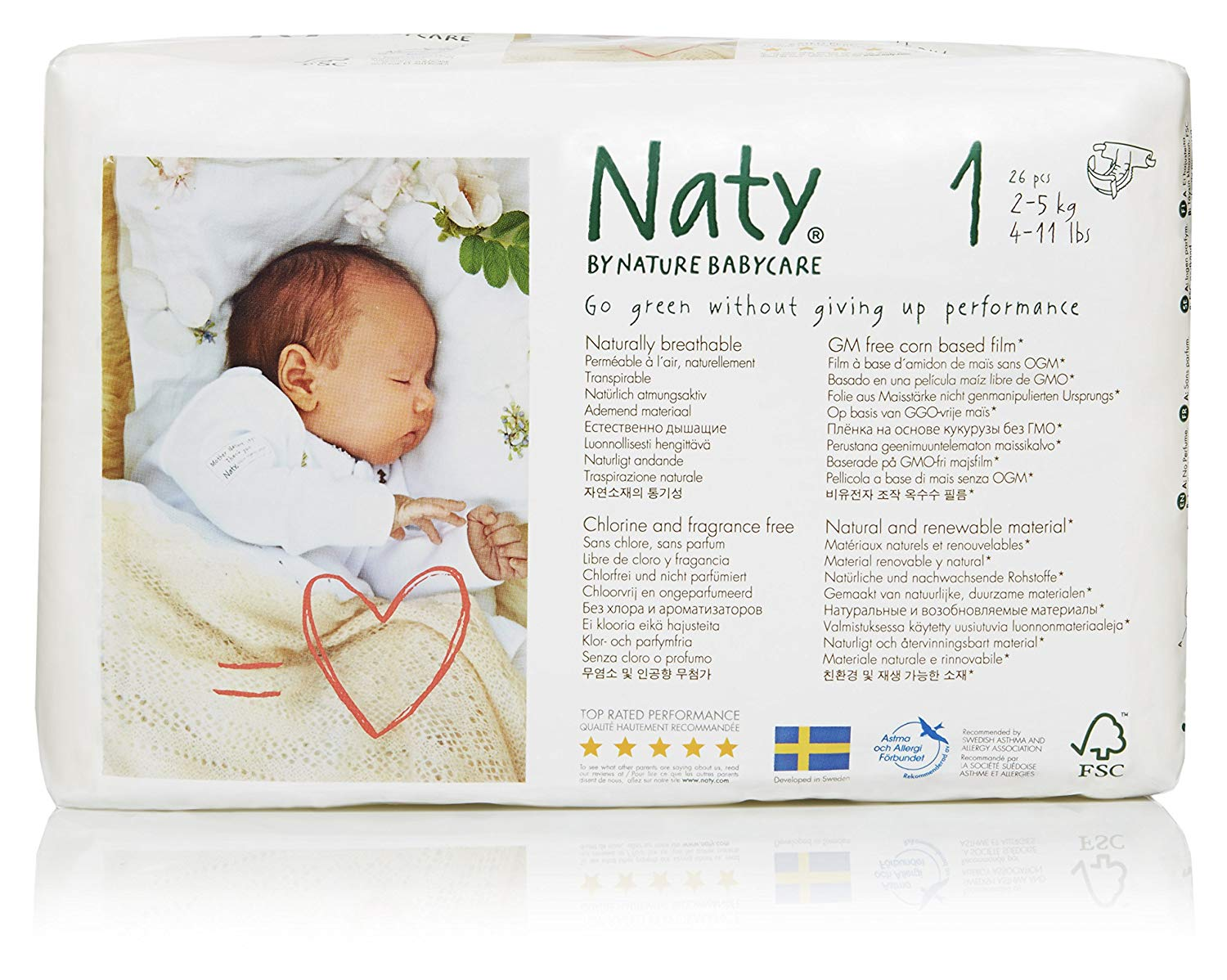 NATY-ECO BY NATY: Diapers Size 1,  25 ct