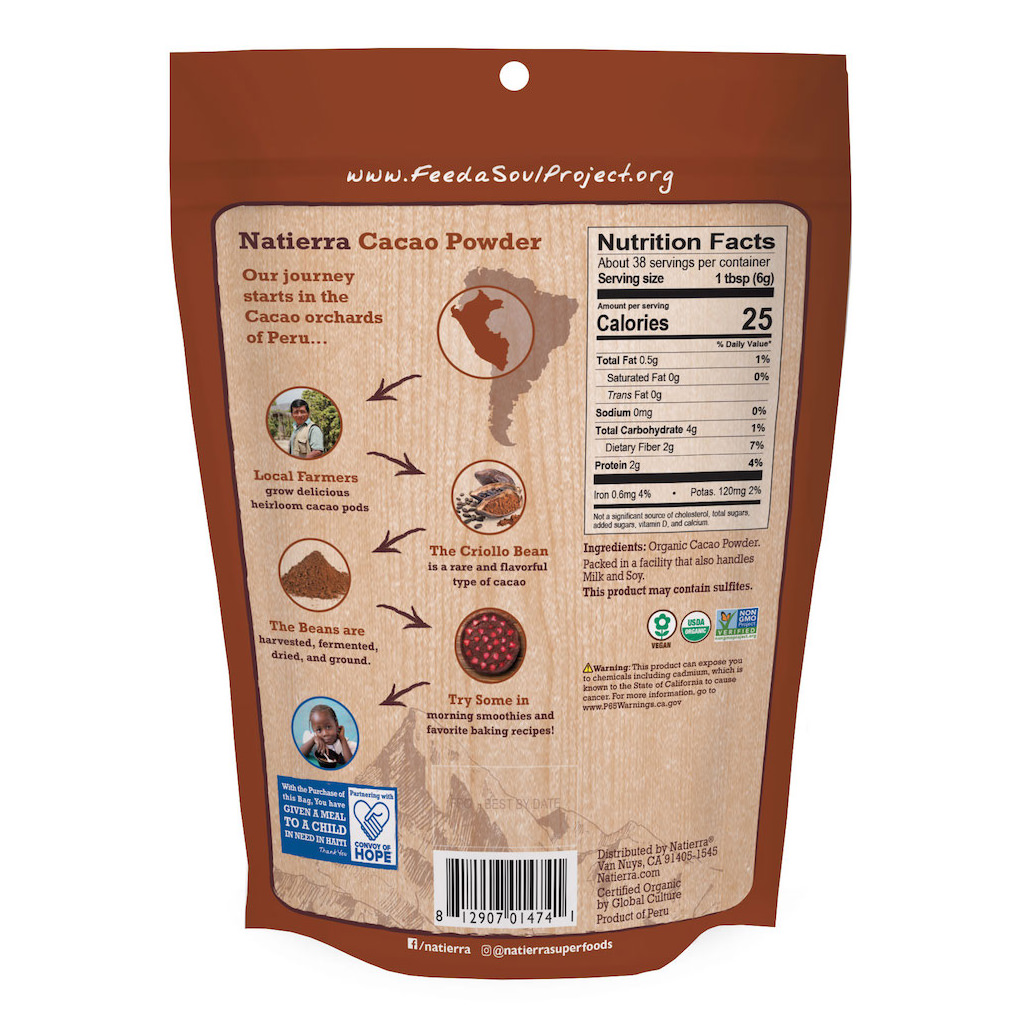 NATIERRA: Organic Cacao Powder Pouch, 8 oz