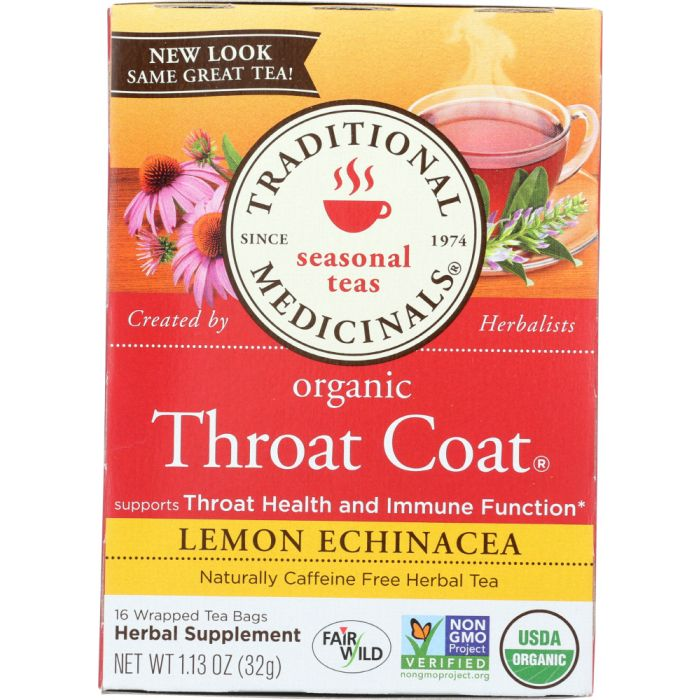 TRADITIONAL MEDICINALS: Organic Throat Coat Lemon Echinacea Herbal Tea 16 Tea Bags, 1.13 oz