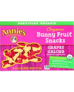 Annie's Homegrown Organic Bunny Fruit Snacks Grapes Galore, 4 Oz