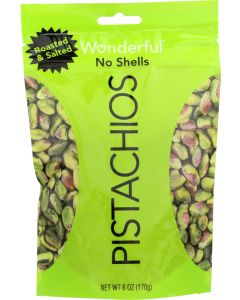 WONDERFUL PISTACHIOS: Roasted & Salted No Shell Pistachios, 6 oz