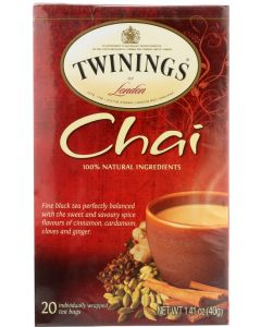 TWINING TEA: Tea Chai Tea 100% Natural Ingredients, 20 Tea Bags, 1.41 oz