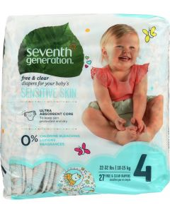 SEVENTH GENERATION: Baby Free & Clear Diapers Size 4 22-37 Pounds, 27 Diapers