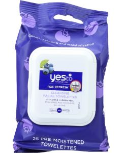 YES TO: Blueberries Age Refresh Cleansing Facial Wipes, 30 pc
