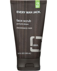 Every Man Jack Face Scrub and Pre-Shave Fragrance Free, 5 Oz