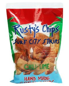 RUSTY'S: Chili Lime Corn Chips, 4 oz