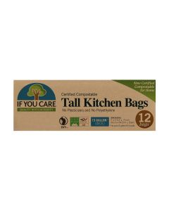 IF YOU CARE: 13 Gallon Compostable Tall Kitchen Bags, 12 bg