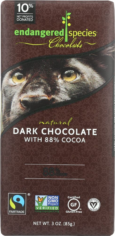 ENDANGERED SPECIES: Natural Dark Chocolate Bar with 88% Cocoa, 3 oz