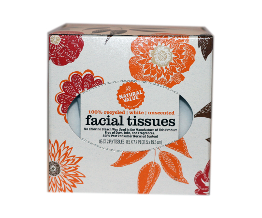 NATURAL 100% Recycled Facial Tissues 85 Count, 1 ea