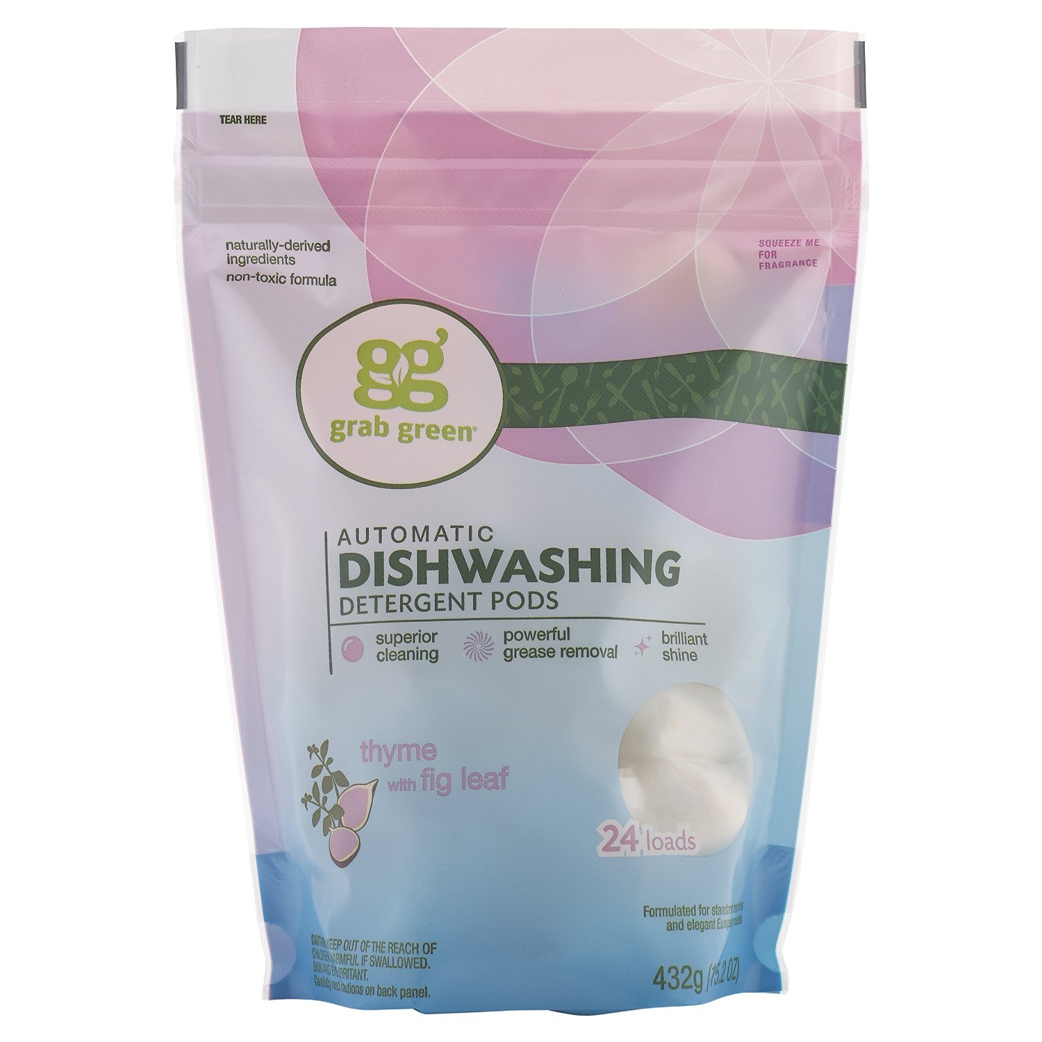 GRAB GREEN: Automatic Dishwashing Thyme with Fig Pouch 24 Loads, 15.2 oz