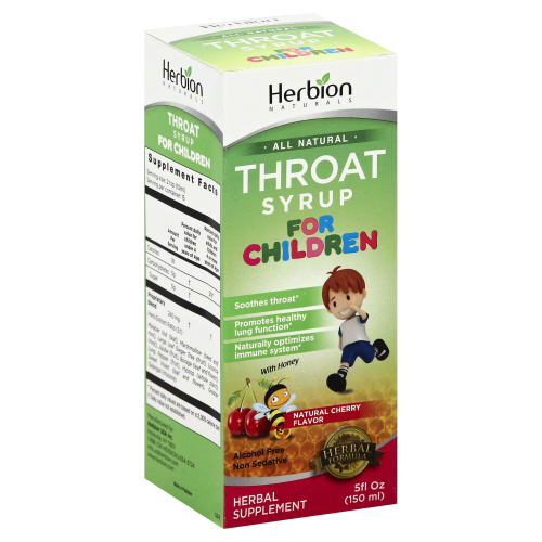 HERBION NATURALS: Syrup Kids Throat Cherry, 5 fo