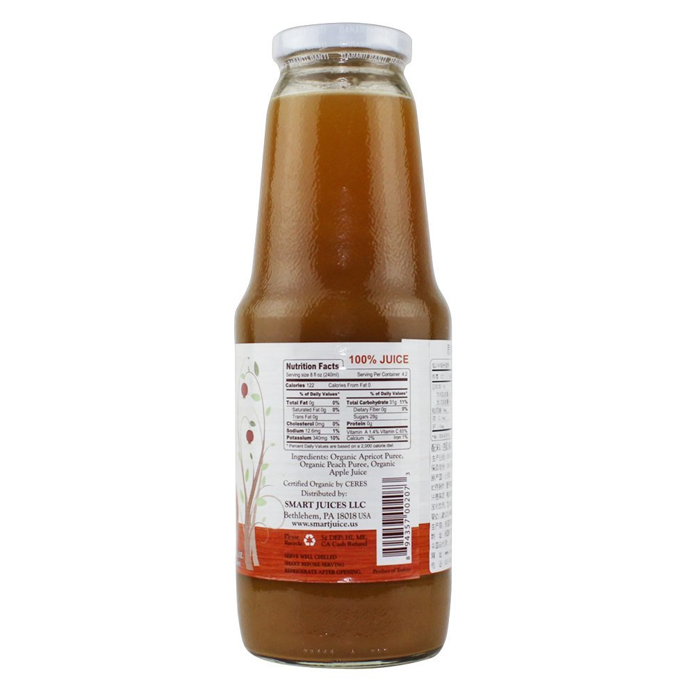 SMART JUICE: 100% Juice Organic Apricot Peach, 33.8 oz