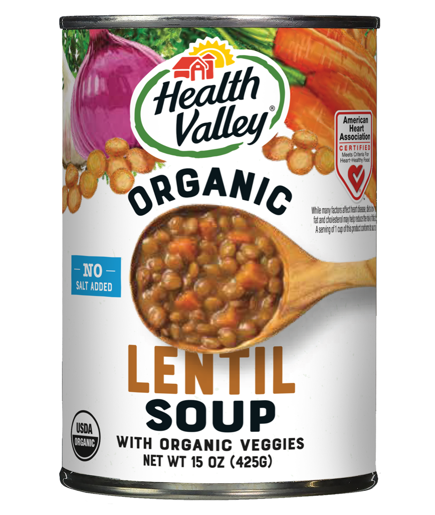 HEALTH VALLEY: No Salt Organic Lentil soup, 15 oz